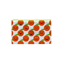 Seamless Background Orange Emotions Illustration Face Smile  Mask Fruits Cosmetic Bag (xs) by Mariart