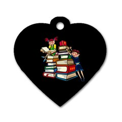 Back To School Dog Tag Heart (one Side) by Valentinaart