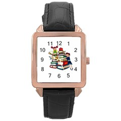 Back To School Rose Gold Leather Watch  by Valentinaart