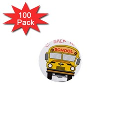 Back To School   School Bus 1  Mini Buttons (100 Pack)  by Valentinaart