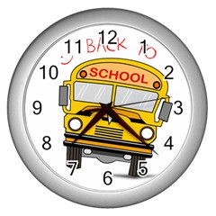 Back To School   School Bus Wall Clocks (silver)  by Valentinaart