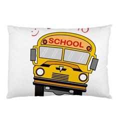 Back To School   School Bus Pillow Case by Valentinaart