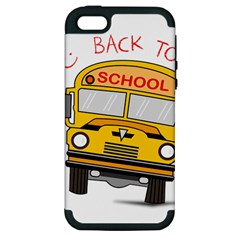 Back To School   School Bus Apple Iphone 5 Hardshell Case (pc+silicone) by Valentinaart