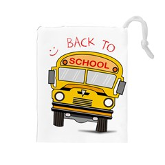 Back To School   School Bus Drawstring Pouches (large)  by Valentinaart
