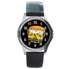 Back To School   School Bus Round Metal Watch by Valentinaart