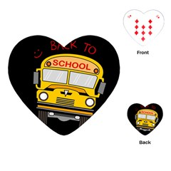 Back To School   School Bus Playing Cards (heart)  by Valentinaart