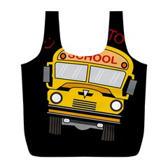 Back To School   School Bus Full Print Recycle Bags (l)  by Valentinaart