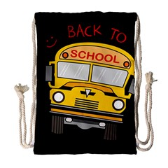 Back To School   School Bus Drawstring Bag (large) by Valentinaart