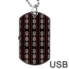 Folklore Pattern Dog Tag Usb Flash (two Sides) by Valentinaart