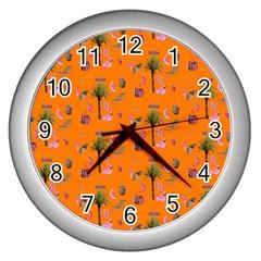 Aloha   Summer Fun 2c Wall Clocks (silver)  by MoreColorsinLife