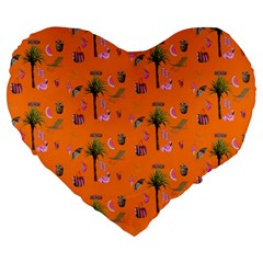 Aloha   Summer Fun 2c Large 19  Premium Flano Heart Shape Cushions by MoreColorsinLife