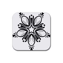 Star Sunflower Flower Floral Black Rubber Square Coaster (4 Pack)  by Mariart