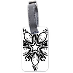 Star Sunflower Flower Floral Black Luggage Tags (two Sides) by Mariart