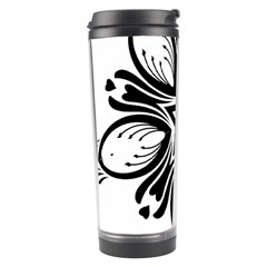 Star Sunflower Flower Floral Black Travel Tumbler by Mariart