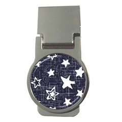 Star Space Line Blue Art Cute Kids Money Clips (round)  by Mariart