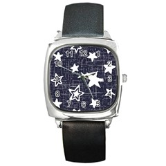 Star Space Line Blue Art Cute Kids Square Metal Watch by Mariart