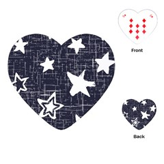 Star Space Line Blue Art Cute Kids Playing Cards (heart)  by Mariart