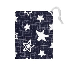 Star Space Line Blue Art Cute Kids Drawstring Pouches (large)  by Mariart