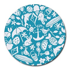 Summer Icons Toss Pattern Round Mousepads by Mariart