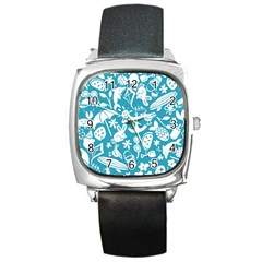 Summer Icons Toss Pattern Square Metal Watch by Mariart
