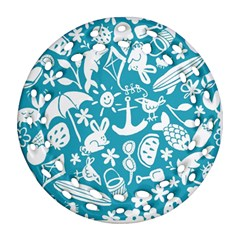 Summer Icons Toss Pattern Ornament (round Filigree) by Mariart