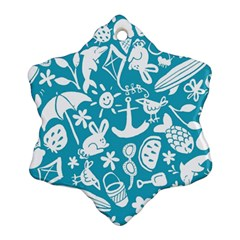 Summer Icons Toss Pattern Snowflake Ornament (two Sides) by Mariart