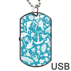 Summer Icons Toss Pattern Dog Tag Usb Flash (one Side) by Mariart