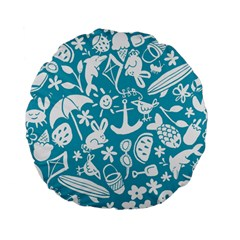 Summer Icons Toss Pattern Standard 15  Premium Flano Round Cushions by Mariart