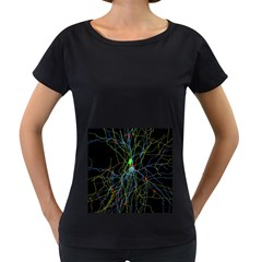 Synaptic Connections Between Pyramida Neurons And Gabaergic Interneurons Were Labeled Biotin During Women s Loose Fit T Shirt (black) by Mariart
