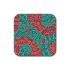 Recursive Coupled Turing Pattern Red Blue Rubber Square Coaster (4 Pack)  by Mariart