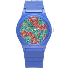 Recursive Coupled Turing Pattern Red Blue Round Plastic Sport Watch (s) by Mariart