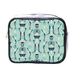Skull Skeleton Repeat Pattern Subtle Rib Cages Bone Monster Halloween Mini Toiletries Bags