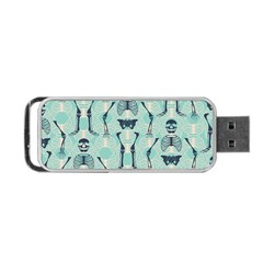 Skull Skeleton Repeat Pattern Subtle Rib Cages Bone Monster Halloween Portable Usb Flash (two Sides) by Mariart