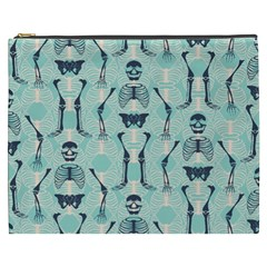 Skull Skeleton Repeat Pattern Subtle Rib Cages Bone Monster Halloween Cosmetic Bag (xxxl)  by Mariart