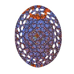 Silk Screen Sound Frequencies Net Blue Oval Filigree Ornament (two Sides) by Mariart