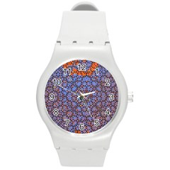 Silk Screen Sound Frequencies Net Blue Round Plastic Sport Watch (m) by Mariart