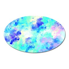 Transparent Colorful Rainbow Blue Paint Sky Oval Magnet by Mariart