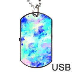 Transparent Colorful Rainbow Blue Paint Sky Dog Tag Usb Flash (two Sides) by Mariart