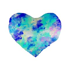 Transparent Colorful Rainbow Blue Paint Sky Standard 16  Premium Flano Heart Shape Cushions by Mariart