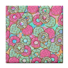 Donuts Pattern Tile Coasters by ValentinaDesign