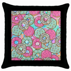 Donuts Pattern Throw Pillow Case (black) by ValentinaDesign