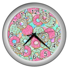 Donuts Pattern Wall Clocks (silver)  by ValentinaDesign