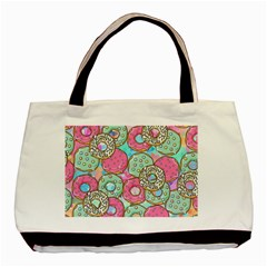 Donuts Pattern Basic Tote Bag (two Sides) by ValentinaDesign
