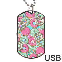 Donuts Pattern Dog Tag Usb Flash (two Sides) by ValentinaDesign