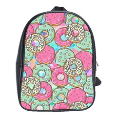 Donuts Pattern School Bag (xl) by ValentinaDesign
