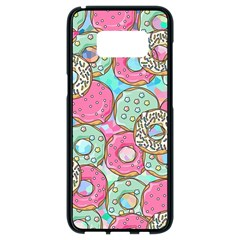 Donuts Pattern Samsung Galaxy S8 Black Seamless Case by ValentinaDesign