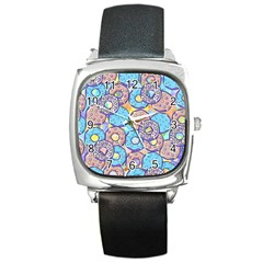 Donuts Pattern Square Metal Watch by ValentinaDesign