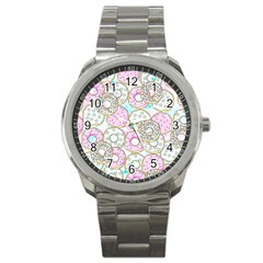 Donuts Pattern Sport Metal Watch by ValentinaDesign
