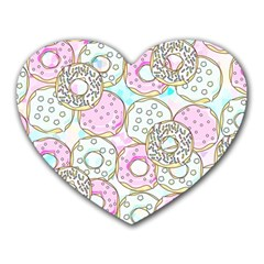 Donuts Pattern Heart Mousepads by ValentinaDesign