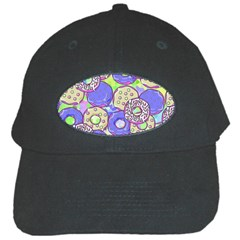 Donuts Pattern Black Cap by ValentinaDesign